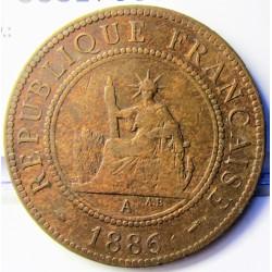 Indochina Francesa 1 Cts. 1886. A-(Paris). CU. 10gr. Ø31mm. MBC-/MBC. KM. 1