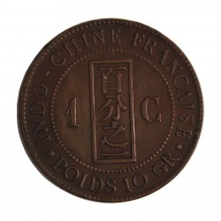 Indochina Francesa 1 Cts. 1894. A-(Paris). CU. 10gr. Ø31mm. MBC-/MBC+. MUY ESCASO/A. KM. 1