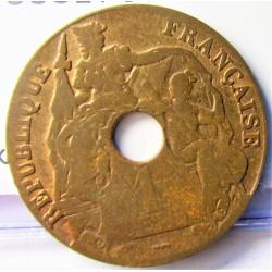Indochina Francesa 1 Cts. 1923. Rayo-(Poissy). CU. 7,5gr. Ø27mm. BC-/BC. KM. 12.3
