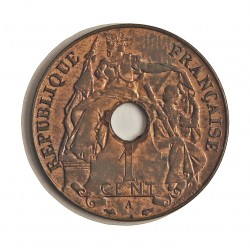 Indochina Francesa 1 Cts. 1938. A-(Paris). (Ala de ave). CU. 7,5gr. Ø27mm. SC-/SC. (Gran parte de su brillo original). KM. 12.