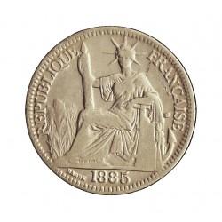 Indochina Francesa 10 Cts. 1885. A-(Paris). AG. 2,72gr. Ley:0,900. Ø19mm. MBC+. KM. 2