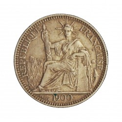 Indochina Francesa 10 Cts. 1900. A-(Paris). AG. 2,72gr. Ley:0,900. (Resello triangular con 6 puntos, en rev.). Ø19mm. MBC/MBC+