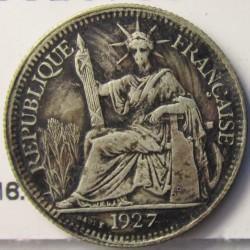 Indochina Francesa 10 Cts. 1927. A-. AG. 2,7gr. Ley:0,680. Ø19mm. MBC-/MBC. (Lev.oxid.). KM. 16.1