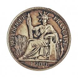 Indochina Francesa 20 Cts. 1900. A-. AG. 5,443gr. Ley:0,900. Ø26mm. EBC-. MUY ESCASO/A. KM. 10