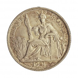 Indochina Francesa 20 Cts. 1901. A-. AG. 5,4gr. Ley:0,835. Ø26mm. MBC/MBC+. MUY ESCASO/A. KM. 10