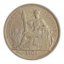 Indochina Francesa 1 Piastras. 1906. A-(Paris). AG. 27gr. Ley:0,900. Ø39mm. MBC/MBC+. KM. 5 a.1