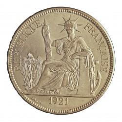 Indochina Francesa 1 Piastras. 1921. (a)-Paris. AG. 27gr. Ley:0,900. Ø39mm. EBC-/EBC+. (Parte de su tono). KM. 5 a.2