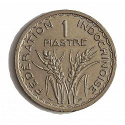 Indochina Francesa 1 Piastras. 1947. (a)-Paris. CUNI. 18gr. Ø34,5mm. SC-/SC. (Insig.gpcto.cto..Marquita). RARO/A. (26.100 mdas.