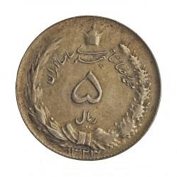 Iran 5 Rial. 1944. (AH.1323). AG. 8gr. Ley:0,600. Ø26mm. MBC+/EBC-. KM. 1145