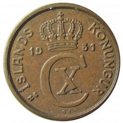 Islandia 1 Eyrir. 1931. (h). N.GJ. AE. 1,5gr. Ø15mm. MBC. KM. 5.1