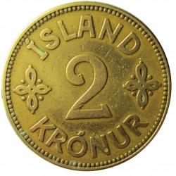 Islandia 2 Kronur. 1925. (h). HCN.GJ. AL+AE. 9,6gr. Ø27mm. MBC-. KM. 4.1