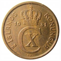 Islandia 2 Aurar. 1931. (h). N.GJ. AE. 3gr. Ø19mm. MBC. KM. 6.1