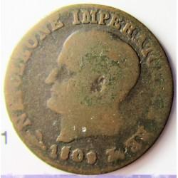Italia 1  Cts.  1809. B-(Bolonia). (Reino de NAPOLEON). CU. 4,7gr. Ø18mm. BC+. MUY ESCASO/A. KM. 1.1