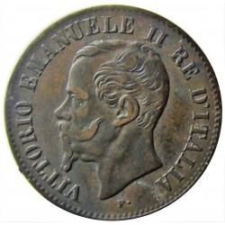Italia 2  Cts.  1861. N-(Napoles). CU. 2gr. Ø20mm. MBC/MBC+. (Tono oscuro). KM. 2.2