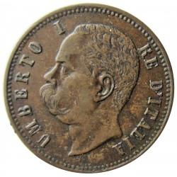 Italia 2  Cts.  1897. R-(Roma). CU. 2gr. Ø20mm. MBC+. (Patina oscura). KM. 30