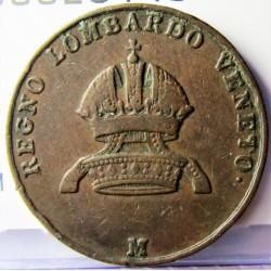 Italia 3  Cts.  1850. M-(Milan). (Reg.Lombardo/Beneto). CU. 2gr. Ø22mm. MBC/MBC+. (Marquitas). KM. 26