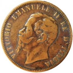 Italia 10  Cts.  1862. M-(Milan). CU. 10gr. Ley:0,000. Ø30mm. MBC-/MBC. KM. 11,1