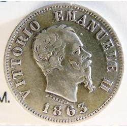 Italia 50  Cts.  1863. M-(Milan). BN. AG. 2,5gr. Ley:0,835. Ø18mm. MBC/MBC+. KM. 14.1