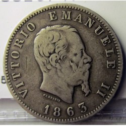 Italia 1  Lira. 1863. M-(Milan). BN. AG. 5gr. Ley:0,835. Ø23mm. BC+/MBC-. KM. 5a.1