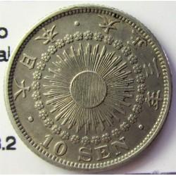 Japon 10 Sen. 1914. AG. 2,25gr. Ley:0,720. (Año 3-Yoshihito-(Taisho). Ø18mm. EBC+/SC-. KM. 36.2