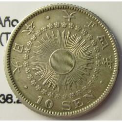 Japon 10 Sen. 1915. AG. 2,25gr. Ley:0,720. (Año 4-Yoshihito-(Taisho)/. Ø18mm. EBC+/SC-. KM. 36.2