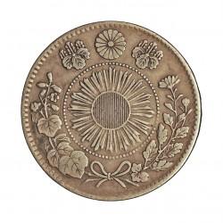 Japon 20 Sen. 1871. AG. 5gr. Ley:0,800. (Año 3-Mutsuhito-(Meiji). Ø23,5mm. MBC+. KM. 3