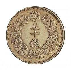 Japon 50 Sen. 1912. ?-(Año 1?). AG. 10,13gr. Ley:0,800. Ø26,5mm. EBC-/EBC. KM. 37.1