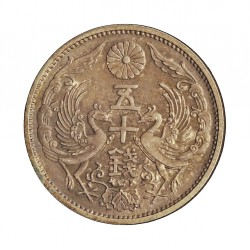 Japon 50 Sen. 1922. 1926. AG. 4,95gr. Ley:0,720. Ø23mm. SC. (Tono original. Lev.patina). KM. 46