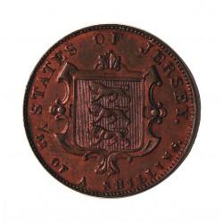 Jersey 0,019 Shilling. 1841. (1/52º de Shilling). CU. 4,3gr. (Victoria). Ø21,5mm. EBC-/EBC+. (Parte de su tono original en rev.
