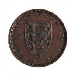 Jersey 0,02 Shilling. 1877. (1/48º de Shilling). H-(Heaton). AE. 9,54gr. (Victoria). Ø20mm. EBC/EBC+. (Patina oscura). RARO/A.