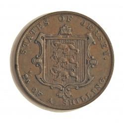 Jersey 0,038 Shilling. 1844. (1/26º de Shilling). AE. 8,6gr. (Victoria). Ø28mm. MBC-/MBC. (Patina oscura). MUY ESCASO/A. KM. 2