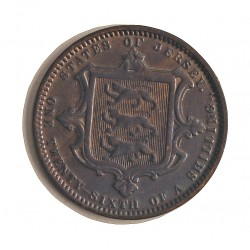 Jersey 0,038 Shilling. 1870. (1/26º de Shilling). AE. 4,7gr. (Victoria). Ø24mm. MBC/MBC+. (Limpiada). KM. 4