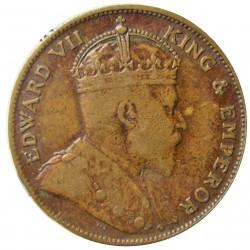 Jersey 0,041 Shilling. 1909. (1/24º de Schilling). AE. 5,6gr. (Eduardo VII). Ø25mm. MBC-/BC+. (Oxid.rev.). KM. 9