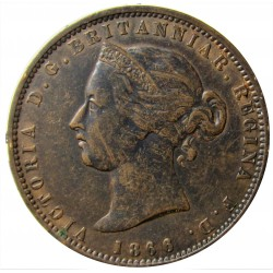 Jersey 0,077 Shilling. 1866. (1/13º de Shilling). AE. 9,3gr. (Victoria). Ø29mm. MBC/MBC+. (Patina oscura). KM. 5
