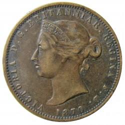 Jersey 0,077 Shilling. 1870. (1/13º de Shilling). AE. 9,3gr. (Victoria). Ø29mm. MBC/MBC+. (Patina oscura). KM. 5