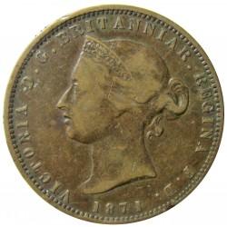 Jersey 0,077 Shilling. 1871. (1/13º de Shilling). AE. 9,3gr. (Victoria). Ø29mm. MBC-/MBC. (Patina oscura). KM. 5