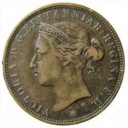Jersey 0,08 Shilling. 1877. (1/12º de Shilling). H-(Heaton). AE. 9,5gr. (Victoria). Ø30,5m/m. MBC-/MBC. KM. 8