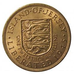 Jersey 0,083 Shilling. 1945. (1/12º de Shilling). AE. 9,5gr. (George VI). Ø30mm. SC-/SC. (Todo su tono original). KM. 19