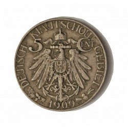 Kiau Chau-(Ocup.Alemana) 5 Cent. 1909. CUNI. 3gr. Ø18,5mm. MBC+. RARO/A. KM. 1