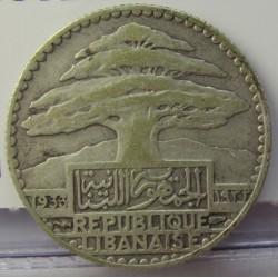 Libano 25 Piastras. 1933. (a)-Paris. AG. 5gr. Ley:0,680. Ø23,5mm. MBC-/MBC. KM. 7