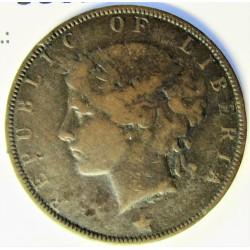 Liberia 1 Cent. 1896. Heaton. AE. 5,5gr. Ø25mm. MBC-. KM. 5