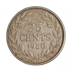 Liberia 25 Cent. 1960. AG. 5,18gr. Ley:0,900. Ø23mm. MBC+/EBC-. KM. 16