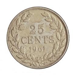 Liberia 25 Cent. 1961. AG. 5,18gr. Ley:0,900. Ø23mm. MBC/MBC+. KM. 16