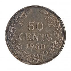 Liberia 50 Cent. 1960. Heaton. AG. 10,37gr. Ley:0,900. Ø28mm. SC-/SC. KM. 17