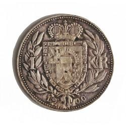 Liechtenstein 1 Krone. 1900. AG. 5gr. Ley:0,835. Ø22,5mm. EBC/EBC+. KM. 2