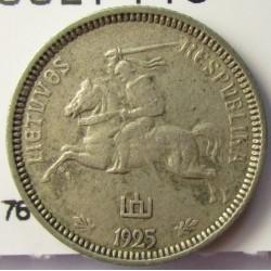 Lituania 1  Litu/ai. 1925. AG. 2,7gr. Ley:0,500. Ø18,5mm. MBC-/MBC. KM. 76