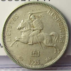 Lituania 2  Litu/ai. 1925. AG. 5,4gr. Ley:0,500. Ø22,5mm. MBC+. KM. 77