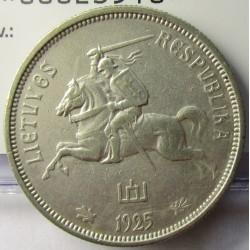 Lituania 5  Litu/ai. 1925. AG. 13,5gr. Ley:0,500. Ø29mm. EBC-/EBC. KM. 78