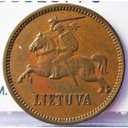 Lituania 5  Cent. 1925. AE. 2,5gr. Ø20mm. EBC/EBC+. (Lev.patina). MUY ESCASO/A. en esta conservacion. KM. 72