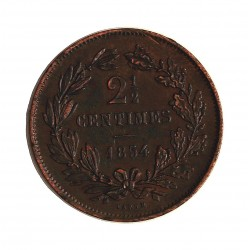 Luxemburgo 2,5  Cts.  1854. Utrech. AE. 2,6gr. Ø21mm. EBC/EBC+. MUY ESCASO/A. en esta conservacion. KM. 22.2